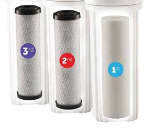 Water Systems FILTER-SET Water Ultimate Pre-Filter Set 3-Stage Replacement Pre-Filter Set, Includes 1 sediment and 2 carbon block filters to protect and extend the life of the RO system
