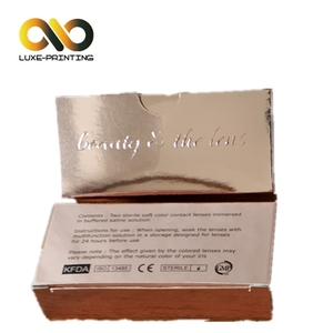 Professional paper packaging manufacture hot sell golden card nice contact lens box