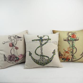 Throw Luxury Anchor Design Digital Printed Pillow Case Decorative Custom Nautical Decorative Pillow Covers
