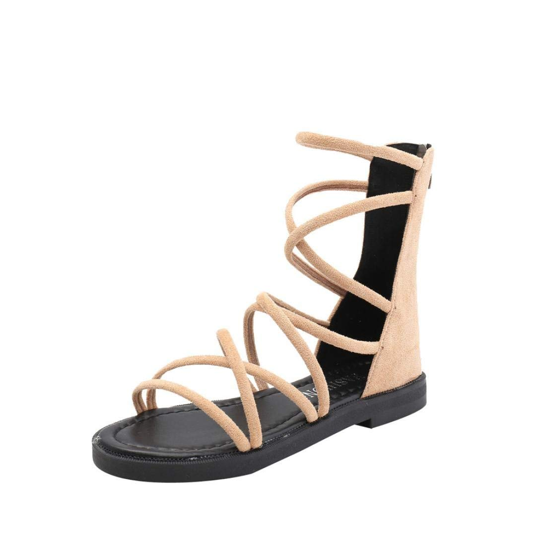 ee915df895191e Get Quotations · Women Fashion Solid Color Cross Tied Sandals With Back  Zipper Ankle Strap Flat Sandals Rome Shoes