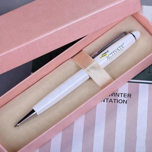 white metal pen with gift box