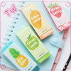Small moq ODM custom fancy cartoon cute fruit design rubber erasers for kids wholesale stationery price lists