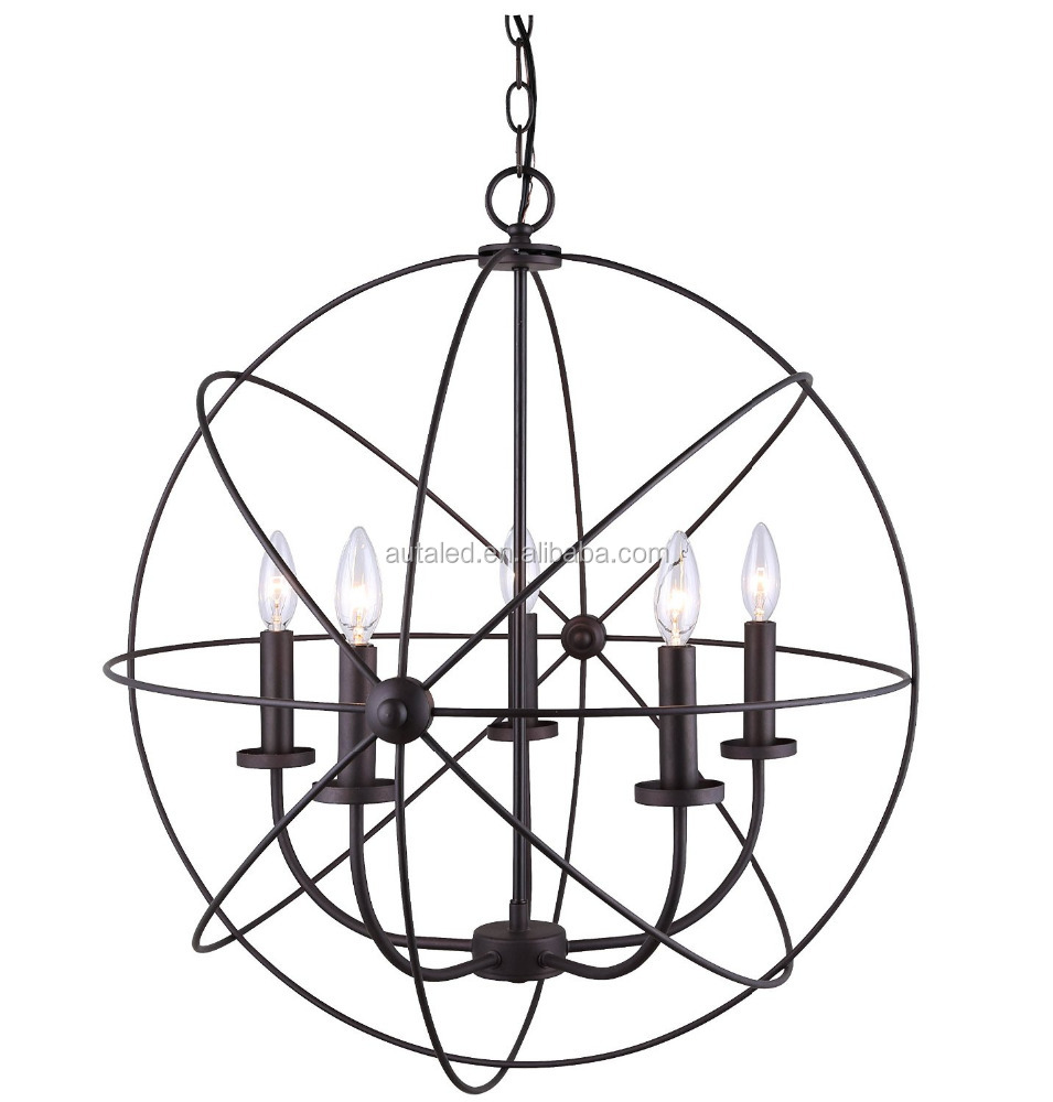 North European Style Classical Vintage Round Cristal Chandeliers Lighting Orb Crystal Chandelier Pendant Hanging Light