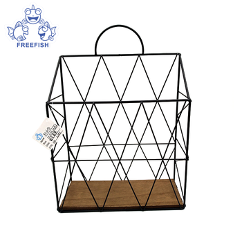 Farmhouse Decor Metal Wire Food Organizer Storage Bin Baskets with Handles and Wood Base