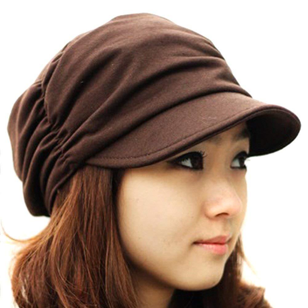 d2c8426dd47aa Get Quotations · LOCOMO Women Girl Fashion Design Drape Layers Beanie Rib Hat  Brim Visor Cap FFH010BLK Black