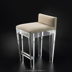 Low Back Clear Acrylic Bar Counter Stool With Cushion
