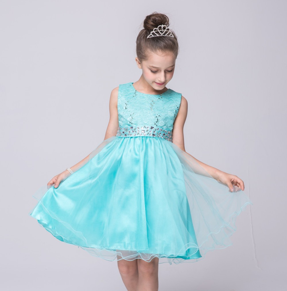 European Princess Party Dress For 8years Kids Baby Girl Sequins ...