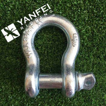 "1-1/2"" inch / WLL 17 tons US Type shackle/ bow type safety pin shackle"