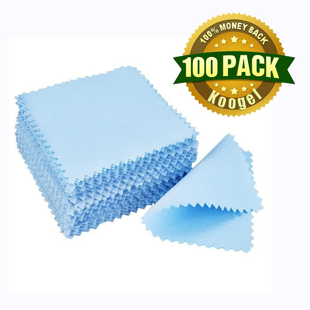 Koogel Polishing Cloth,100 Pcs 3.2'' Blue Jewelry Cleaning Cloth for Sterling Silver Gold Platinum Lens Glasses Screens Watches Instruments
