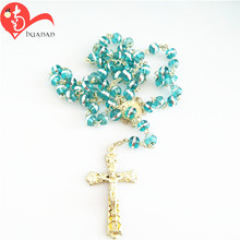 fashion jewelry Christian rosary glass cross pendant necklace