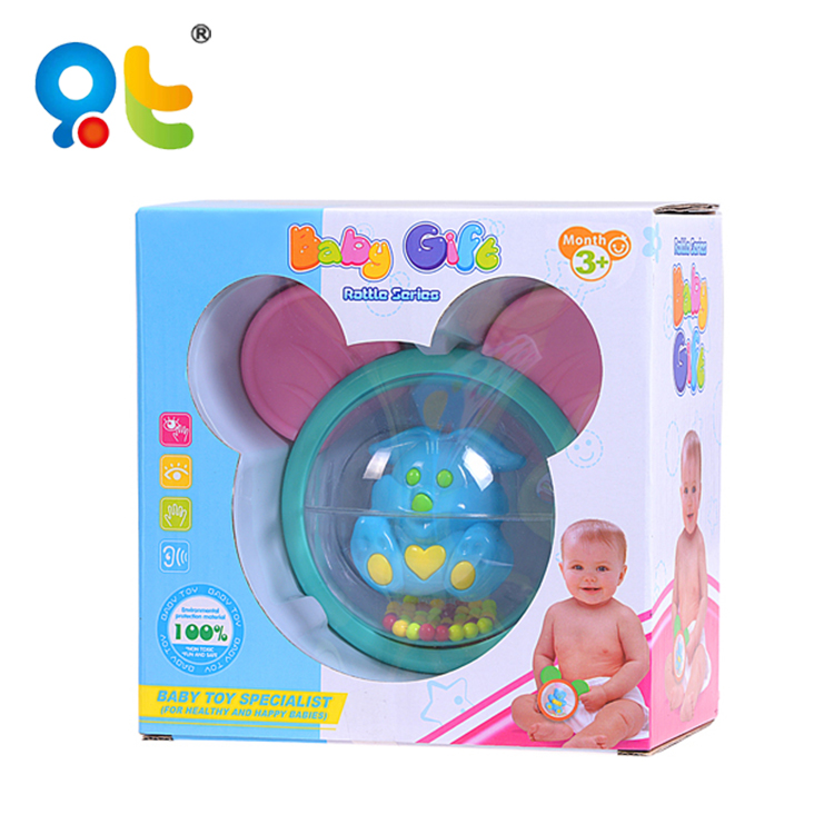 Wholesale baby gift is colorful plastic mickey rabbit baby rattle with teether
