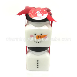 wholesale Christmas body scrub body lotion spa gift set in printing jar
