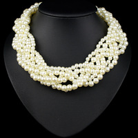 Newest Design Statement Luxury Jewelry Pearls Wind Chain Necklace Bohemian Mutilayered White Pearl Chain Necklace