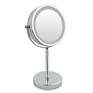 Metal Stainless Steel Battery Operated LED Lighted Cosmetic 10x Magnify Makeup Mirror