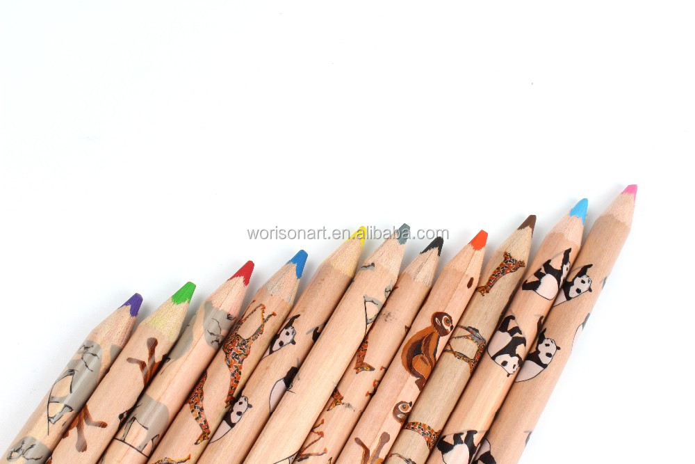 12pcs animal printing Triangle color pencils set drawing pencils for kids