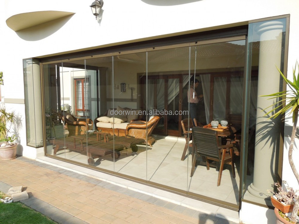 China Manufacturer Frameless Glass Aluminium Sliding Folding Doors