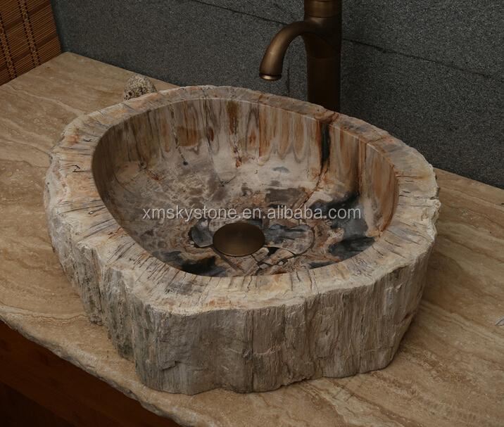 Diseño Occidental Popular Madera Fósil Piedra Lavabo - Buy Product ...