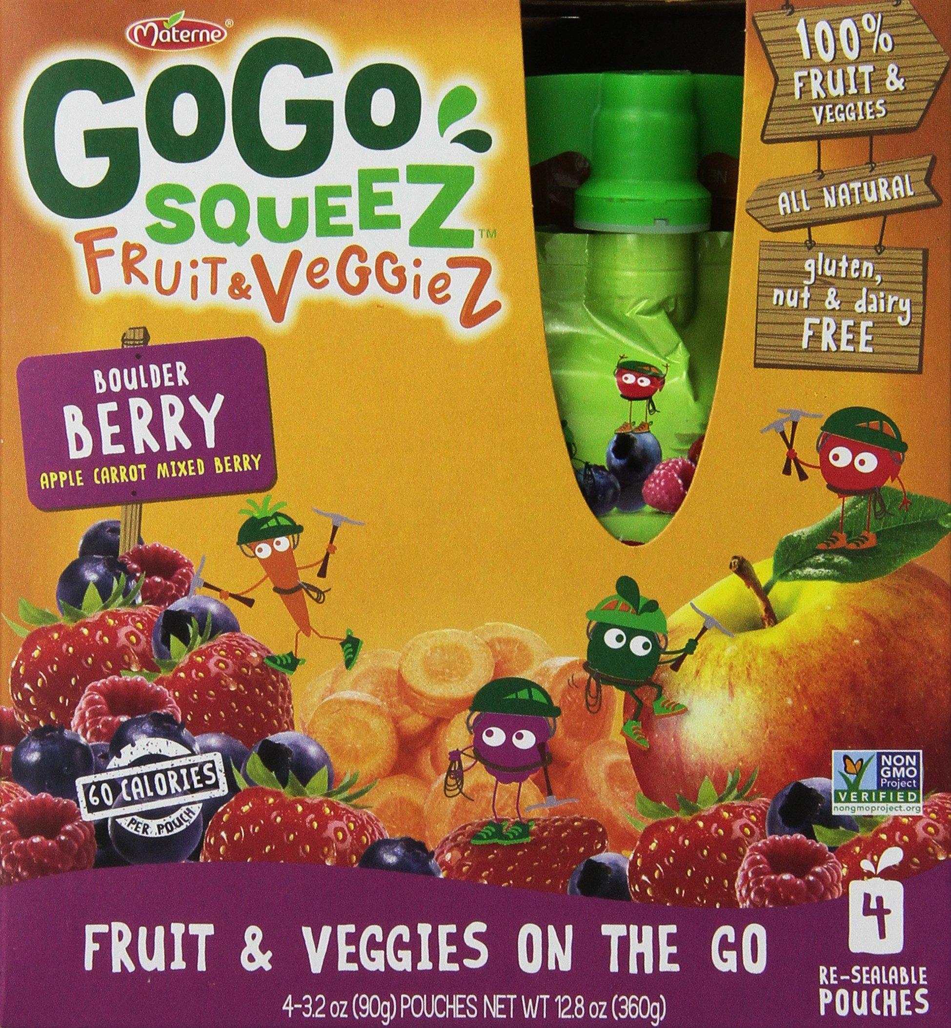 GoGo SqueeZ Fruit & VeggieZ on the Go, Apple Carrot Mixed Berry , 3.2 Ounce Portable BPA-Free Pouches, Gluten-Free, 48 Total Pouches (12 Boxes with 4 Pouches Each)