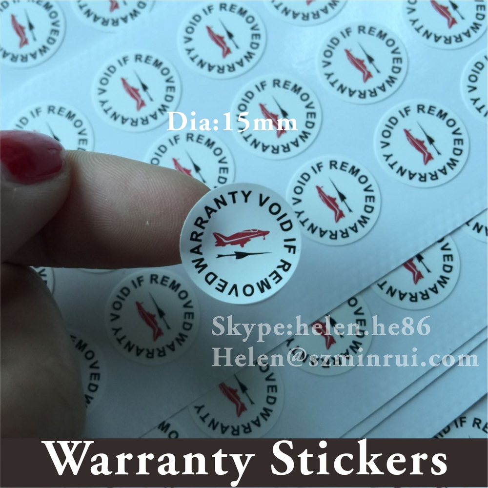 Custom round tamper evident warranty sticker with company logo printingdestructible vinyl warranty void if