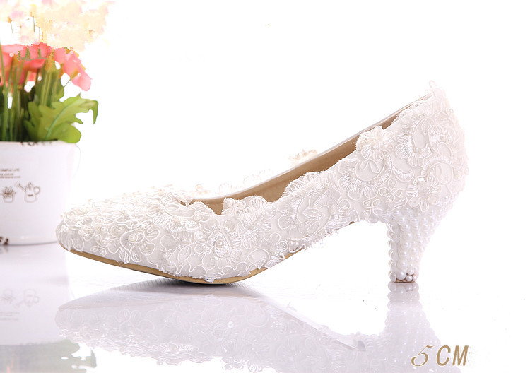 New Arrival Pure White Lace Wedding Shoes Pearl Comfortable Wedding Dress Shoes Bride&Bridesmaid Shoes