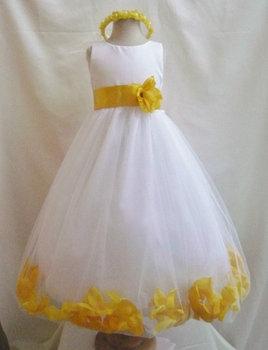 Flower girl dress ivory rose petal dress with light yelow wedding flower girl dress ivory rose petal dress with light yelow wedding easter junior bridesmaid formal girl mightylinksfo