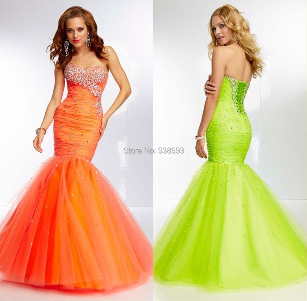 Bright Orange Mermaid Prom Dresses Mermaid Prom Dresses