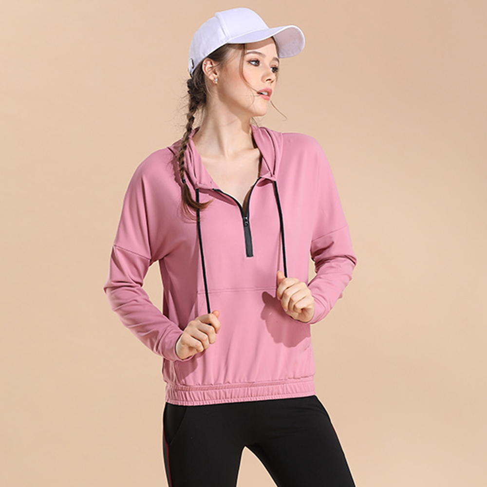 Damen Workout Bekleidung Outdoor Yoga Top Hoodie Laufen Lässige Fitness Yoga Top