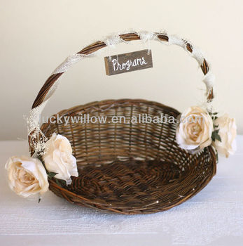 Rustic Style Wicker Wedding Flower Basket/christmas&garden Decoration - Buy  Decorative Baskets For Wedding For Gift,Flower Arranging Wicker ...