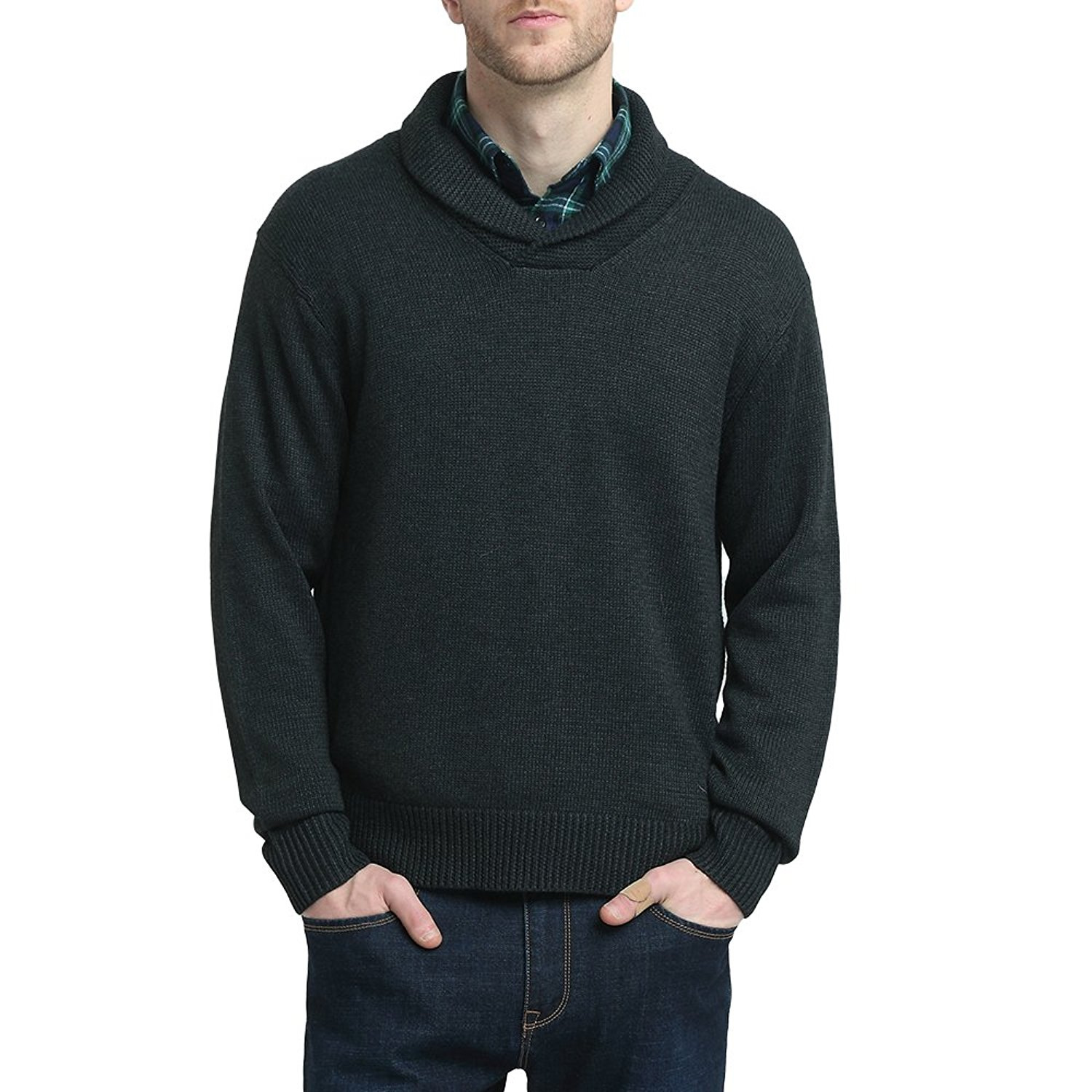 Kallspin Mens Relaxed Fit Shawl Collar V Neck Sweater Merino Wool Blend Thick and Solid