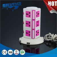 extension vertical tower power strip socket
