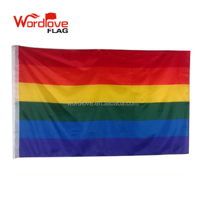 Screen printing 75D polyester custom six color lesbian Gay Pride Flag,wholesale 3x5ft rainbow LGBT flag for decorative
