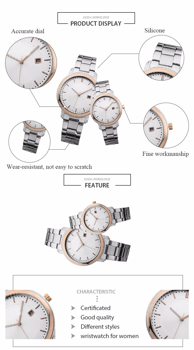 Factory Price Of Classic Stainless Steel Back Couple Watch Lovers
