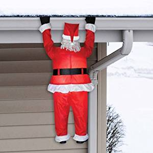 Airblown Inflatable Santa Hanging Christmas Decoration | Perfect Home Holiday Outdoor Decor by the Gutters or Roofline