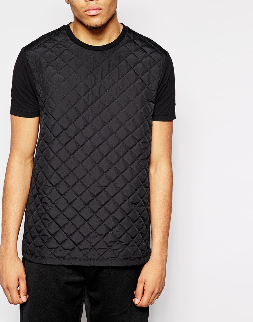 Black quilted t shirt - 2015 Grid Quilted T Shirt For Men T Shirt In Black Color T Shirt Hot Sale