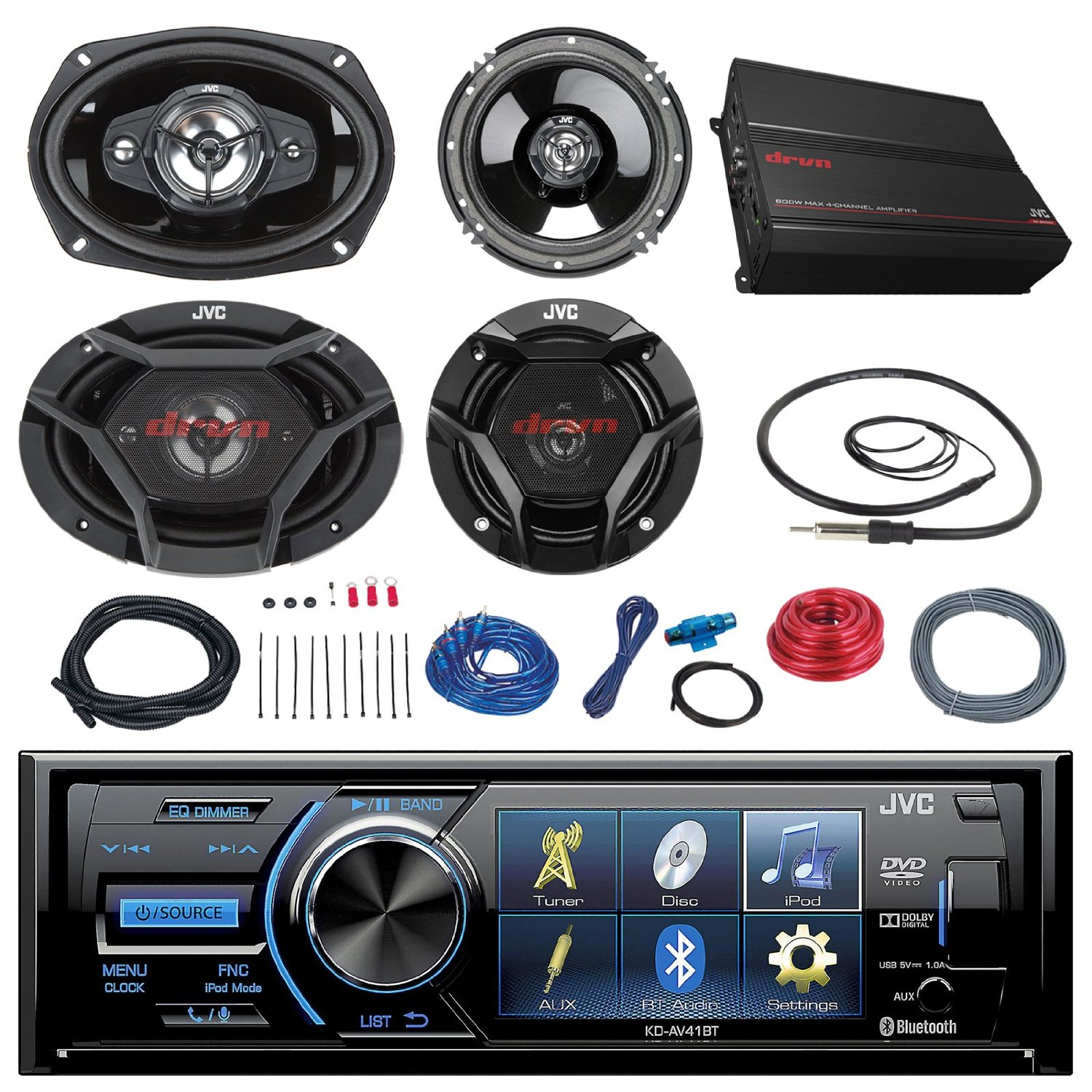 Buy Jvc Kd Av41bt 3 Car Dvd Bluetooth Stereo Receiver Bundle Combo Dual Amplifier Wiring Kit With 2x 65 2 Way And 6x9 Inch 4 Coaxial Speakers 1000 Watt Channel Install