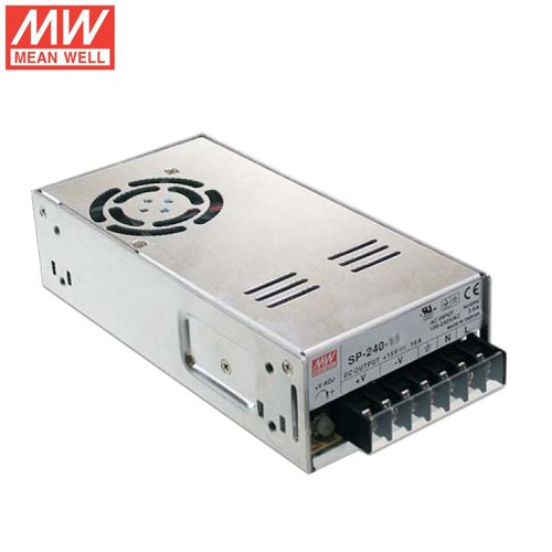 "Mean Well SP-240-48 Enclosed Switching AC-to-DC Power Supply, Single Output, 48V, 0-5A, 240W, 2.0"" H x 3.7"" W x 7.5"" L"
