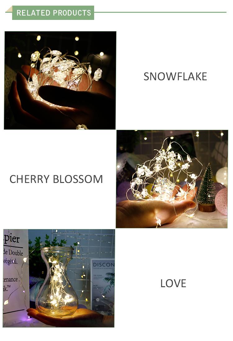Fancy Luminosità HA CONDOTTO DC alimentato Rame Filo D'argento Stella Leggiadramente Della Stringa Della Luce Per La Camera Da Letto Decorazione Della Casa Natale