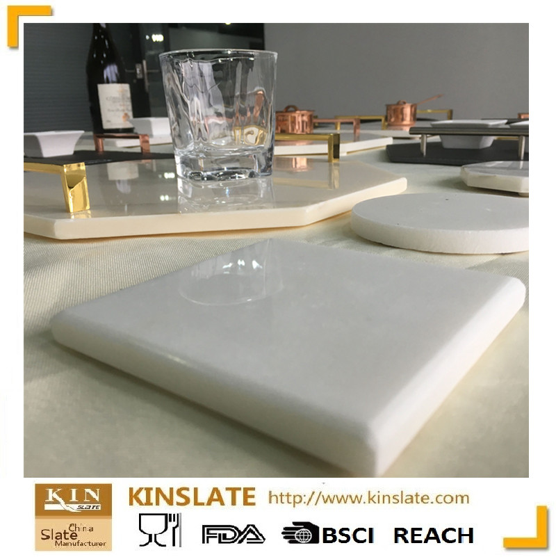 white square marble cork coaster for tableware