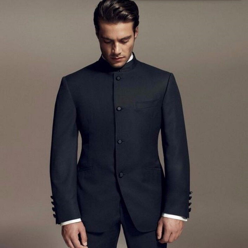 Latest Designs Style Groom Suits Standing Collar Tuxedos Black ...
