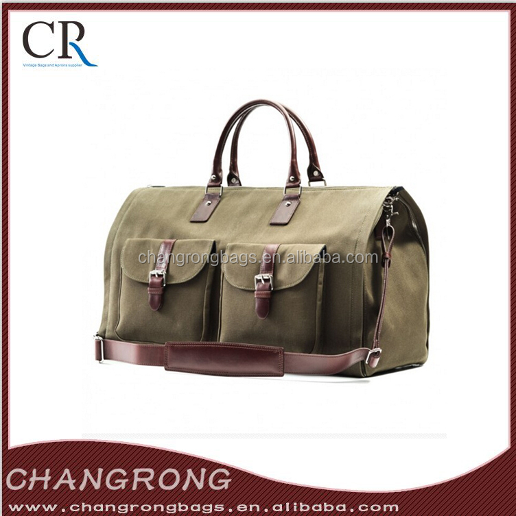 men's waxed canvas military duffle bag with leather trim