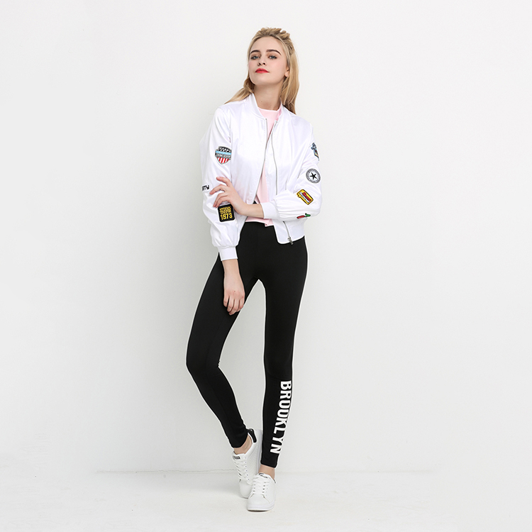 HAODUOYI Women Black Leggings Female Letter Print Stretchy Slim Pencil Pants Ladies Tight Casual Trousers for Wholesale