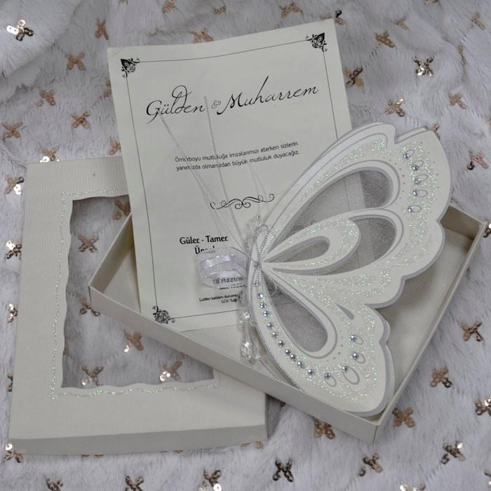 Elegant Ivory Royal Scroll Butterfly Wedding Invitation Card - Buy ...