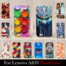 For LENOVO A859 Case Hard Plastic Mobile Phone Cover Case DIY Color Paitn Cellphone Bag Shell  Shipping Free