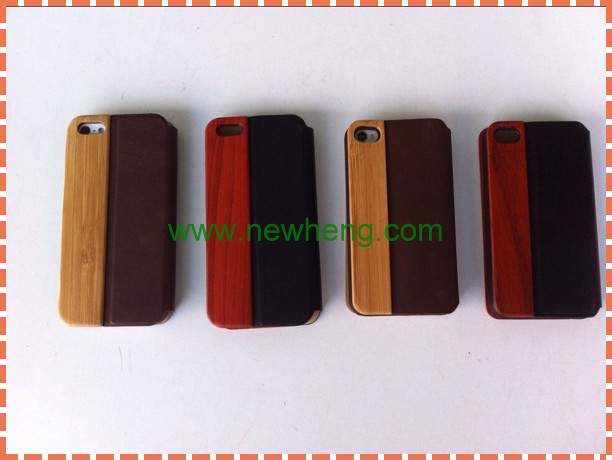 Hot sale bamboo/wood+ PU leather case for iphone5,wood case for iphone 5s