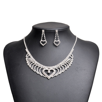 Fashion women accessories rhinestone bridal heart jewelry set