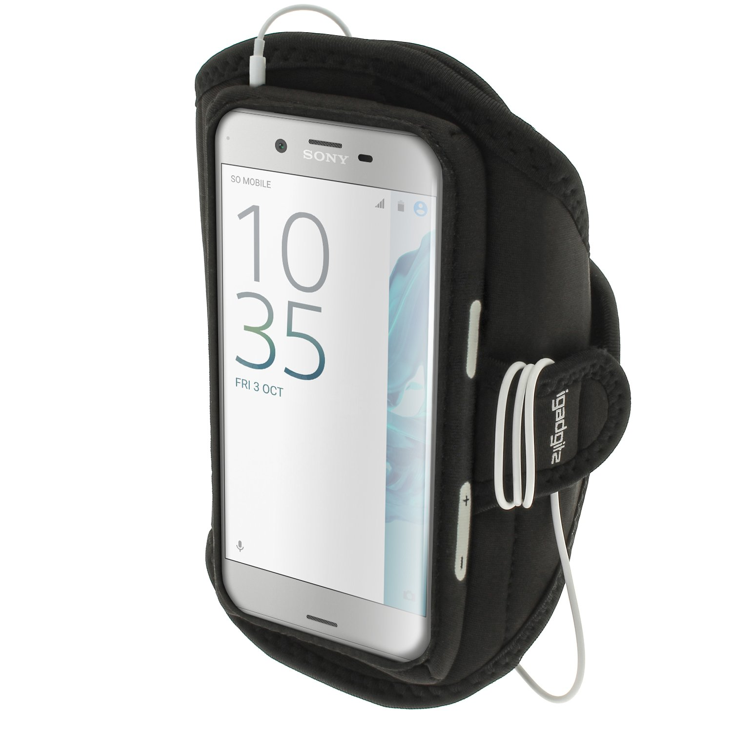 Get Quotations · iGadgitz Water Resistant Black Sports Jogging Gym Armband for Sony Xperia XZ