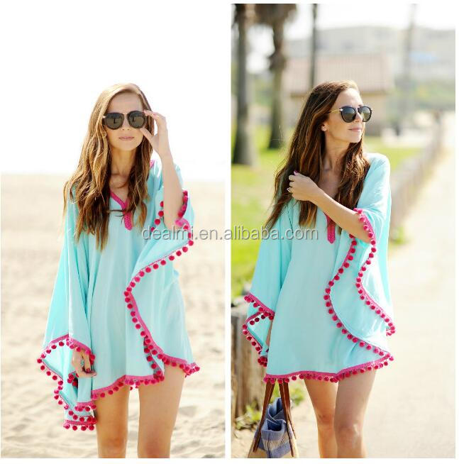 Teal Blue and Hot Pink Pom-Pom Fringed Beach Cover Up