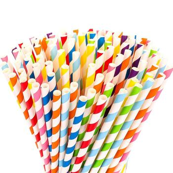 Party Favors Wholesale Cocktail Eco Friendly Striped Recycled Drinking Paper Straw