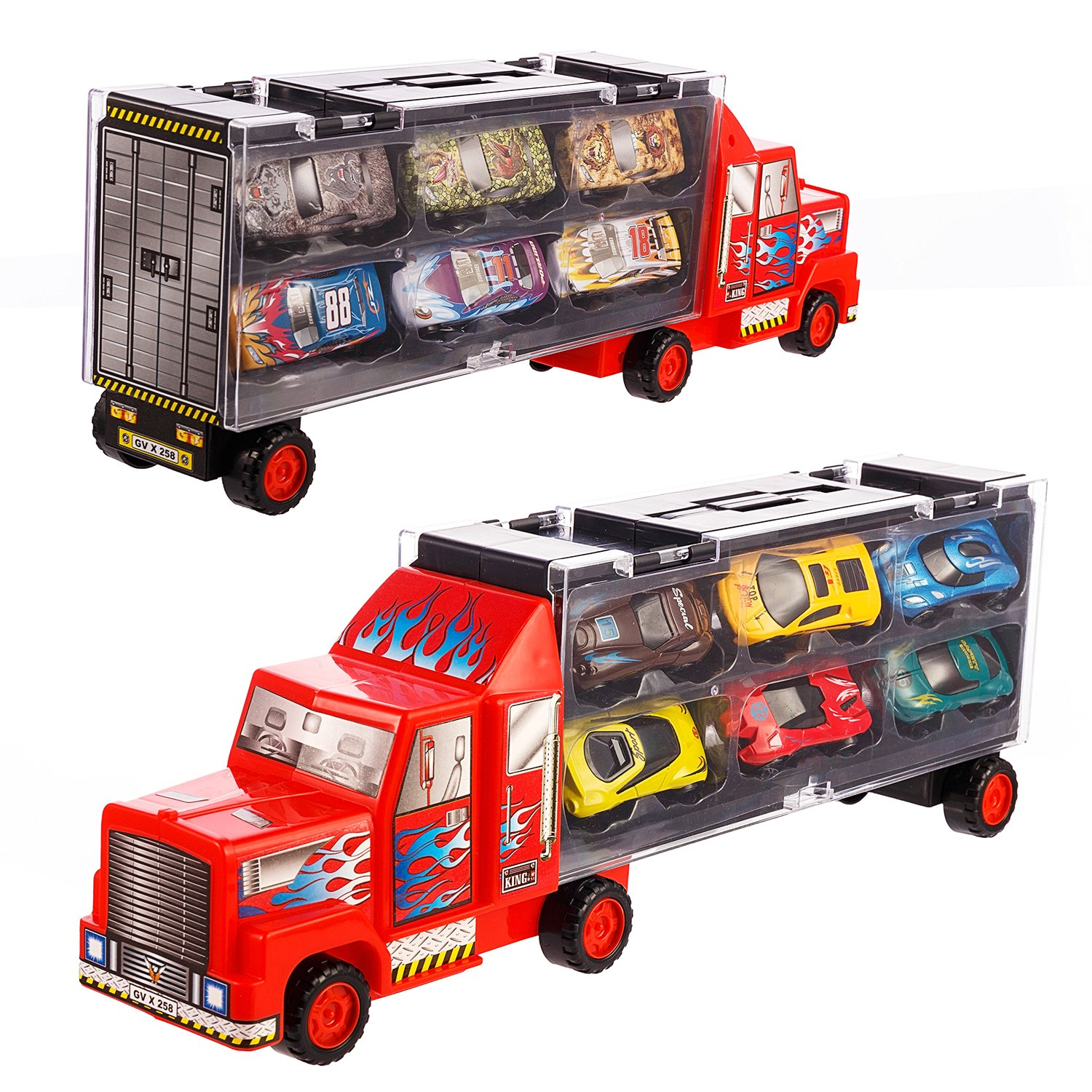 599f67f0bf19d Get Quotations · Transport Car Carrier Truck diecast car Toy for Kids (includes  6 alloy cars