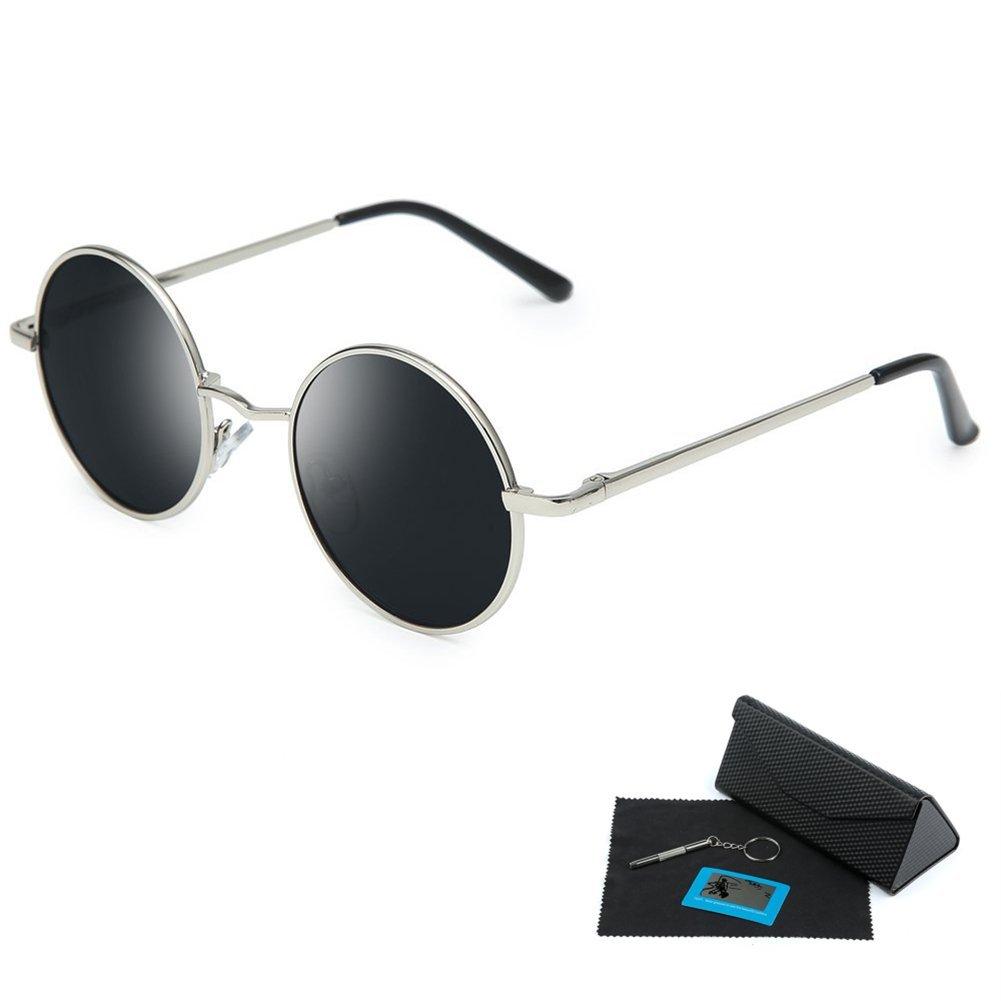 db06b3fd120d Get Quotations · Shushu Jacob Unisex Polarized Sunglasses UV400 Protection  60s Style Round Metal
